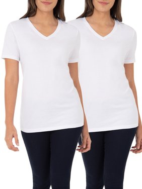 1eb996877 Product Image Women's Essential Short Sleeve V-Neck T-Shirt, 2 Pk Bundle