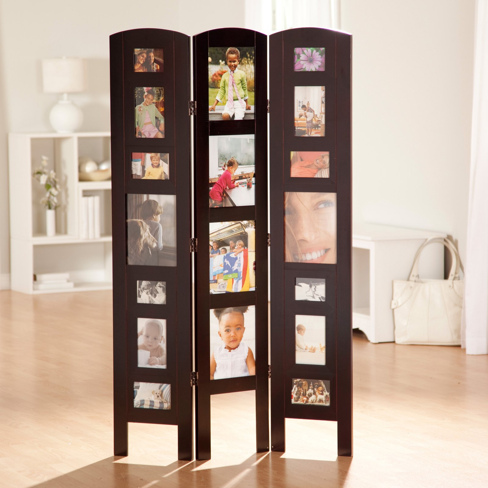 Memories Photo Frame Room Divider - Rosewood 3 Panel
