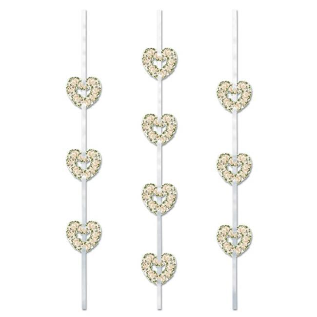 Beistle 57749 Heart Ribbon Stringers Pack of 12
