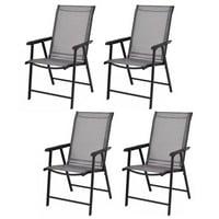Costway Camping Deck Garden Folding Chair (Set of 4)