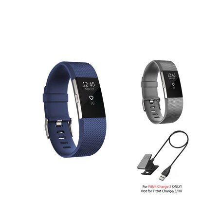 Fitbit Charge 2 Bands and Fitbit Charge 2 Charger by Zodaca 2 pcs (Gray &  Dark Blue) Replacement Bands Rubber Wristband Fashion Sport Strap with  Metal