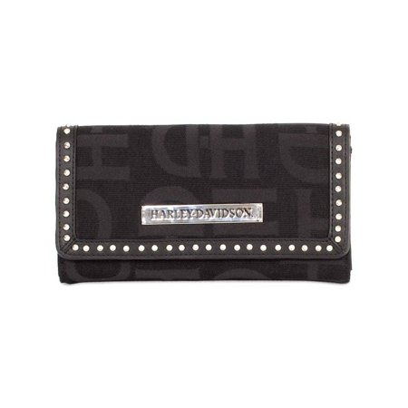 Womens Black H-D Logo Jacquard Clutch Wallet HD3480J-BLACK, Harley Davidson