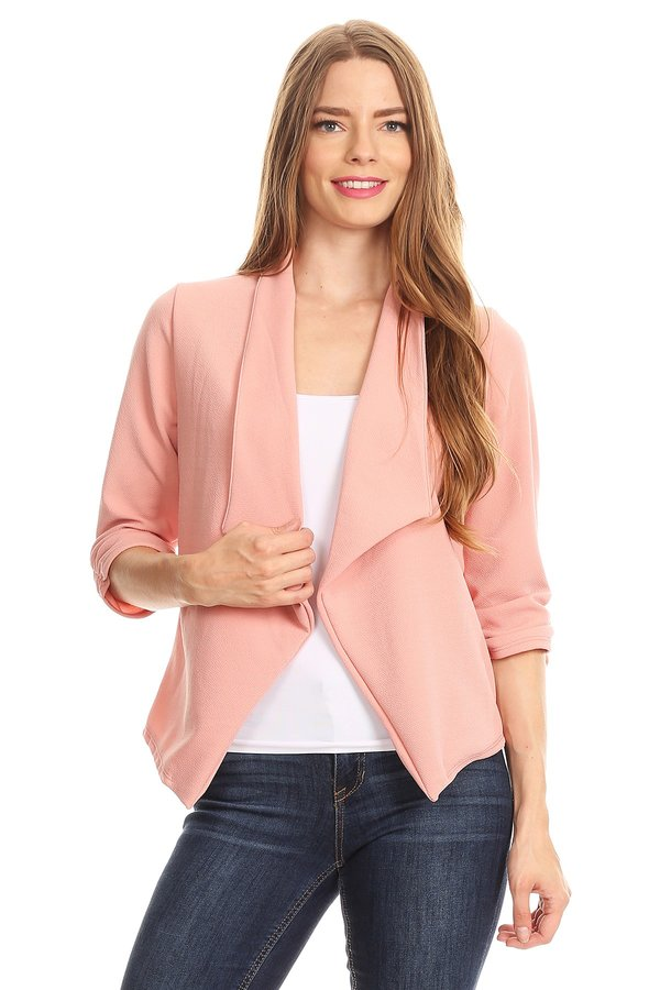 Women's Trendy Style 3/4 Sleeves Solid Open Jacket