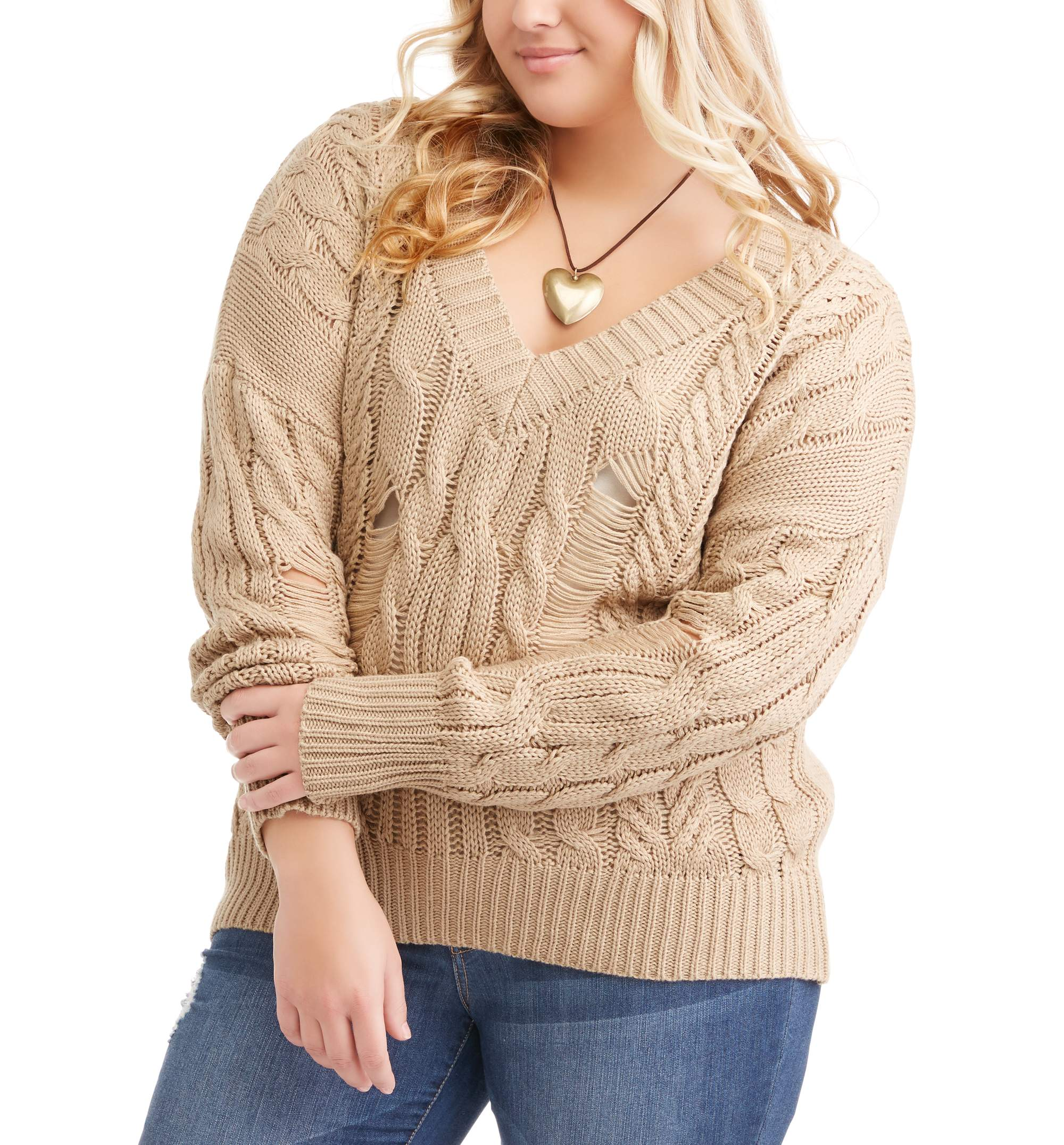 Poof Junior Plus Destructed V-Neck Cable Sweater