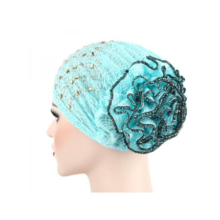 Lavaport 11 Colors Islamic Women Head Cover Lace Flower Muslim Hijabs Cap with Diamonds