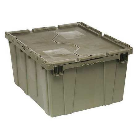 (QUANTUM STORAGE SYSTEMS Attached Lid Container,4.00 cu ft,Gray QDC2820-15)