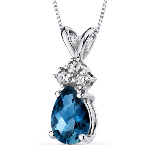 Oravo 0.75 Carat T.G.W. Pear-Cut London Blue Topaz and Diamond Accent 14kt White Gold Pendant, 18""