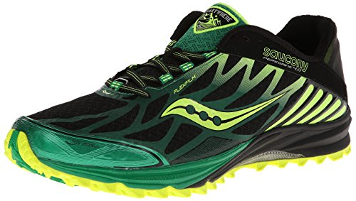 Saucony Men's Peregrine 4 Trail Running Shoe,Black Green Citron,7.5 M US by