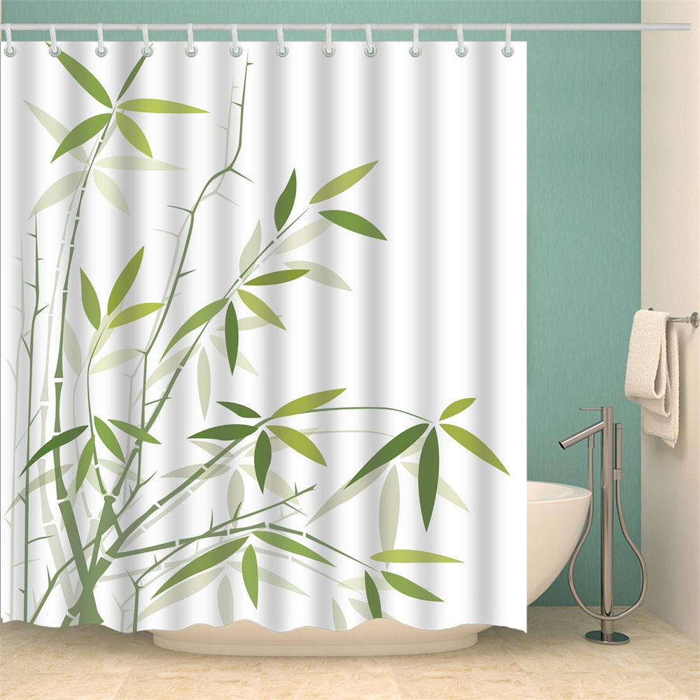 Shower Curtain Set With Hooks Spring Leaves Green Bamboo Leaf White Lime  Bathroom Decor Waterproof Polyester Fabric Bathroom Accessories Bath Curtain