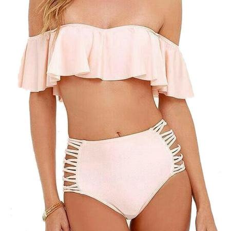 48c33ee71 Ezshoot - Ezshoot Ruffled SwimWear Hot Summer High Waist Bikini Set Sexy  Women Bathing Suit - Walmart.com
