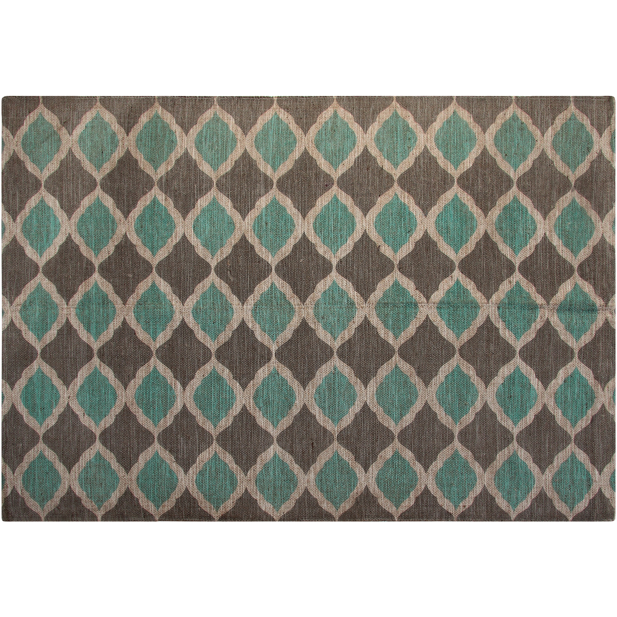 jute and cotton printed 5u0027 x 7u0027 area rug turquoise and taupe matrix