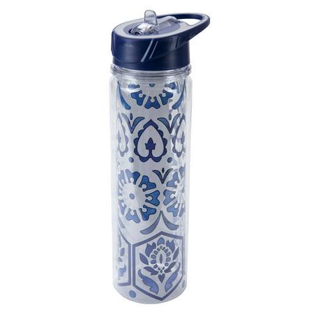 - Boston Warehouse Insulated Flip Top Sport Water Bottle, 20oz, True Blue Floral