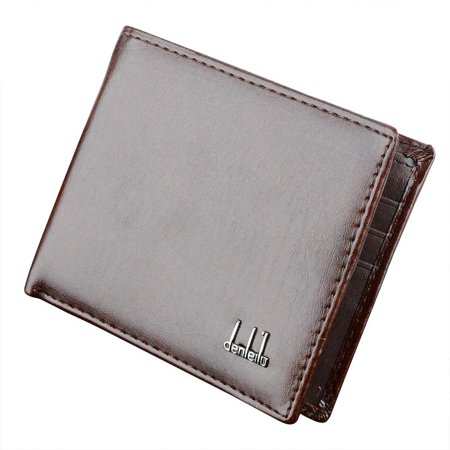 Men's Wallet Money Pockets Credit/ID Cards Holder Purse 2 Colors Synthetic Leather HFON ()