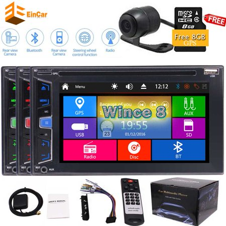 Free Rear Camera+New Arrival Wince 8.0 Car GPS Stereo with Optional UI in dash 2 din headunit Autoradio Bluetooth 1080p Car dvd player Double Din 6.2 inch Video FM/AM/RDS Radio Tuner Audio subwoo