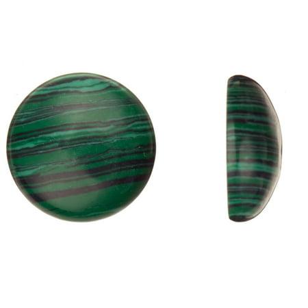 Beading Supply 16mm Round Dome Semi-Precious Cabochon Stones Malachite 2pcs