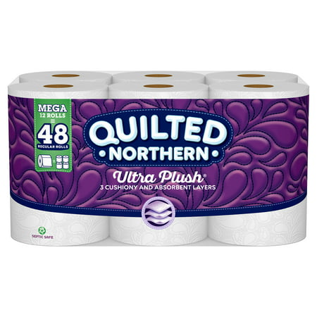 Quilted Northern Ultra Plush Toilet Paper, 12 Mega Rolls (= 48 Regular (Great Northern Locations)