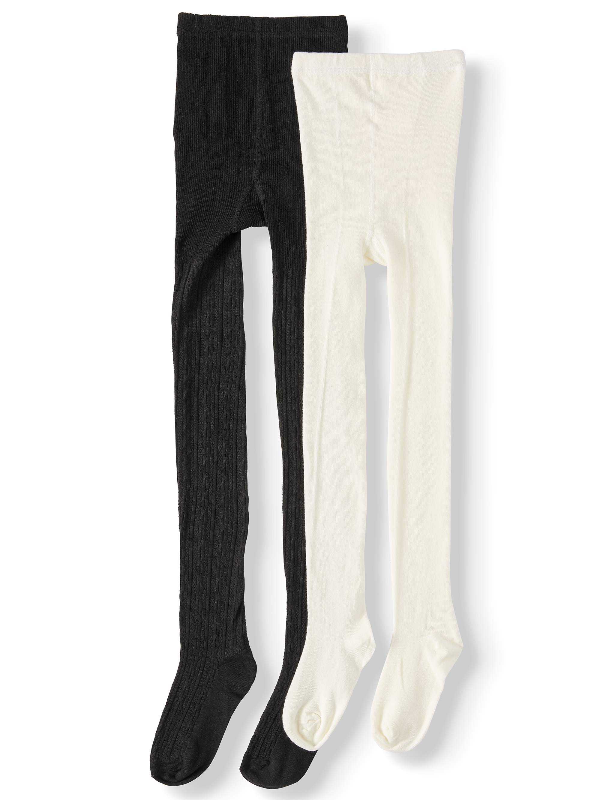 Wonder Nation Cable Heavyweight Cotton Tights, 2 Pack