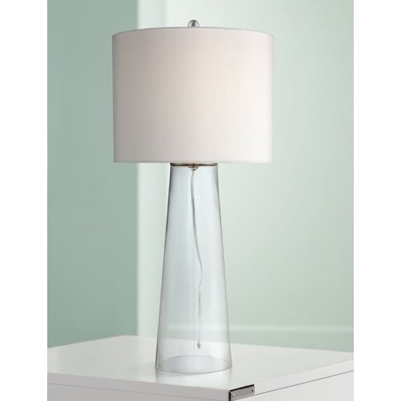 360 Lighting Coastal Table Lamp Clear Glass Tapered Column White Drum Shade for Living Room Family Bedroom Bedside Nightstand ()