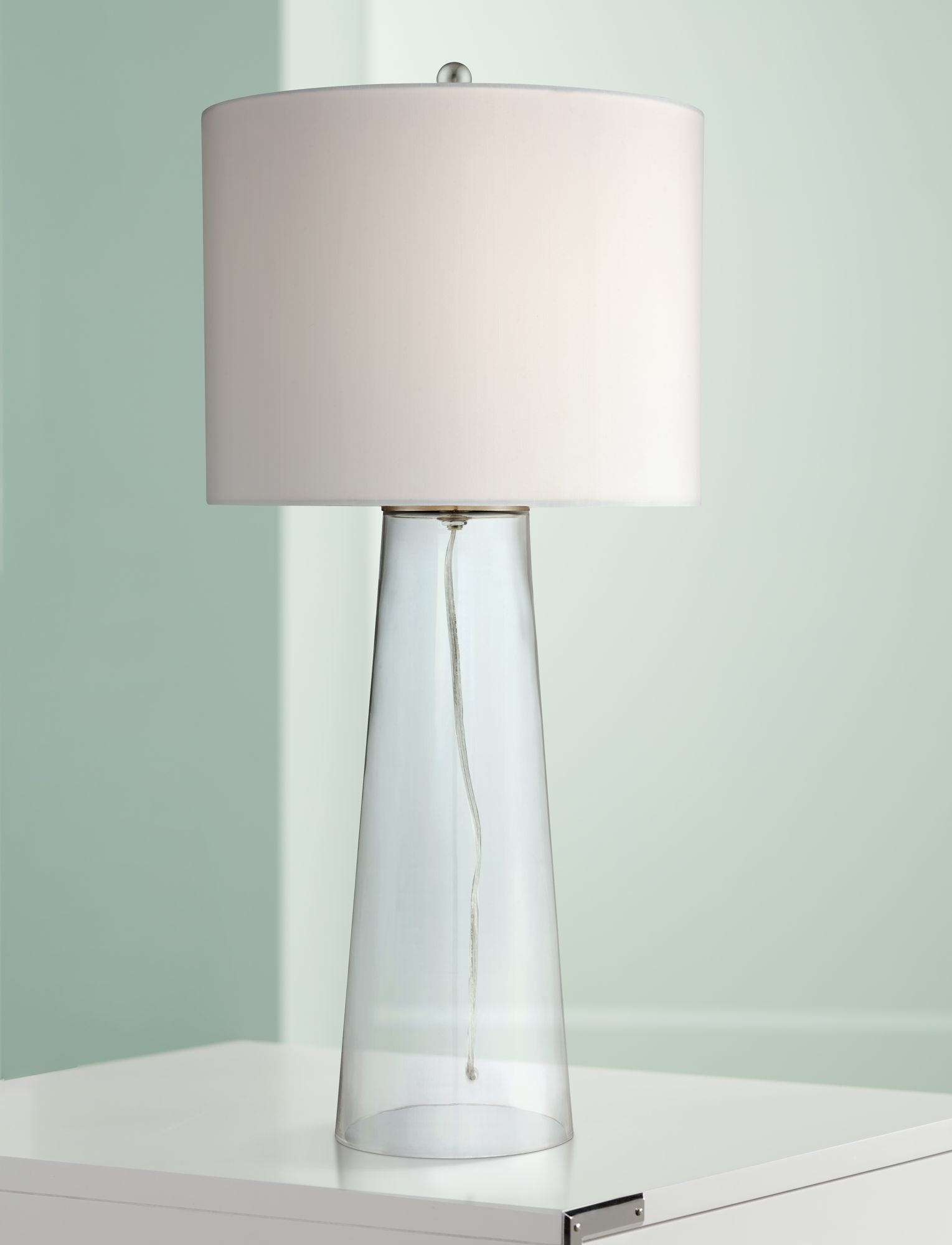 360 Lighting Coastal Table Lamp Clear Glass Tapered Column White Drum Shade  For Living Room Family Bedroom Bedside Nightstand   Walmart.com