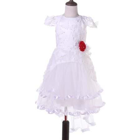 Baby Girls Princess Flower Short Sleeve Lace Ruffled Hem Party Gowns Dresses For Special Occasion