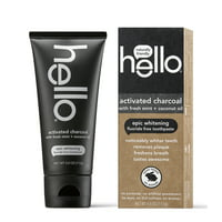 Hello Activated Charcoal Fluoride Free Whitening Toothpaste, Vegan & SLS Free, 4.0oz