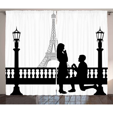 Engagement Party Curtains 2 Panels Set  Paris Lovers City Wedding Proposal For Great Future Image Happiness  Window Drapes For Living Room Bedroom  108W X 108L Inches  Black And White  By Ambesonne