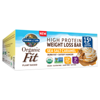 Garden of Life Organic Fit Bar, Sea Salt Caramel, 14g Protein, 12 Ct