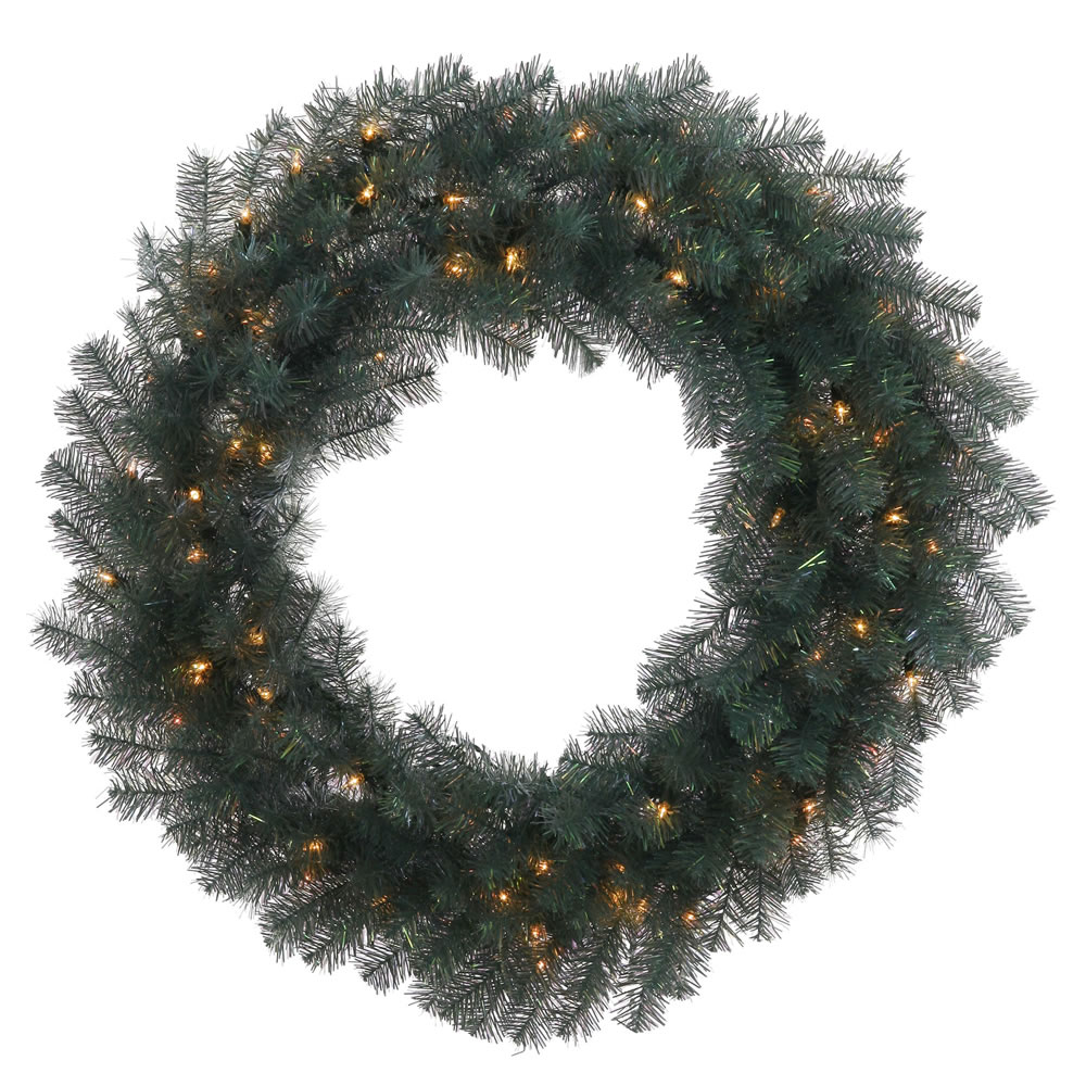 "36"" Blue Crystal Artificial Christmas Wreath ��� Clear Dura Lights"