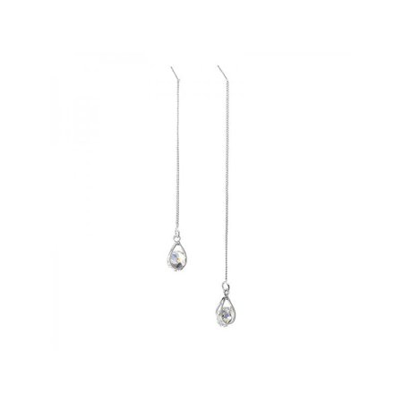 MarinaVida Long Line Threader Earrings Silver Gold Crystal Ear Threads Drop Dangle Chain Earrings