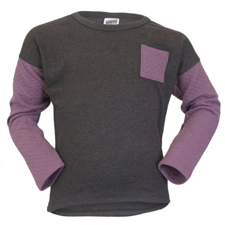 Crew Charcoal Heather (Girls Quilted Crew, Charcoal Heather & Black Plum -)