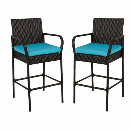Kinbor Set of 2 Patio Outdoor Wicker Barstool Set Pool Furniture High Chair Blue Cushions