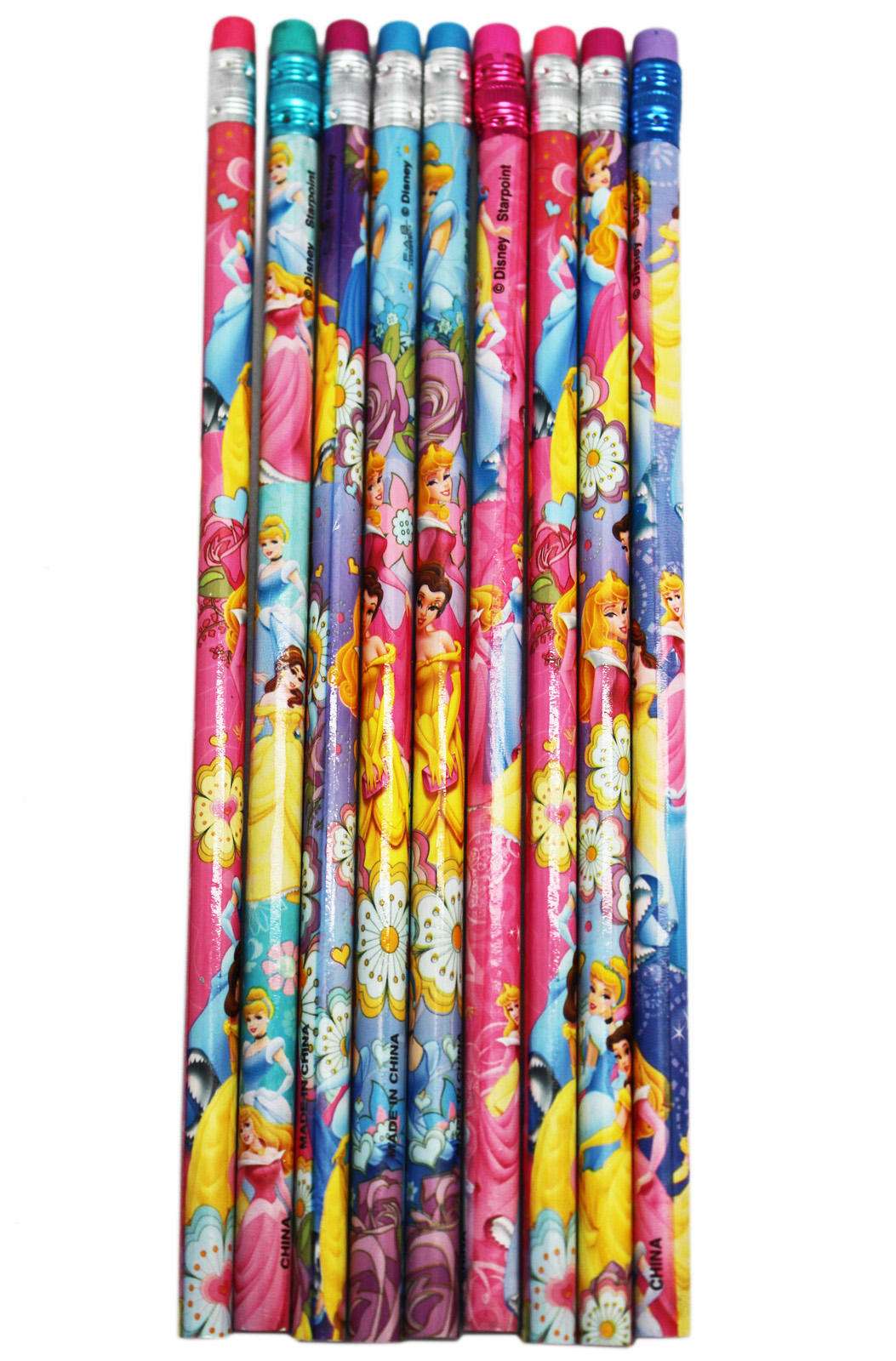 Disney Princess Bright and Colorful Assorted Wooden Pencils (9pc) by