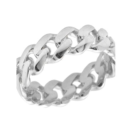 3991a14f0ccce Solid 10K White Gold Miami Cuban Link Ring Band 7MM-8
