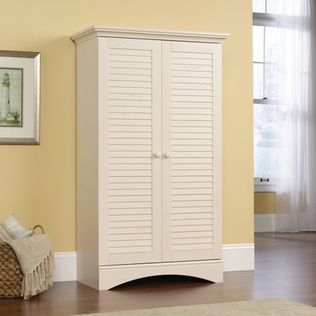 Sauder Harbor View Storage Cabinet in Antiqued White