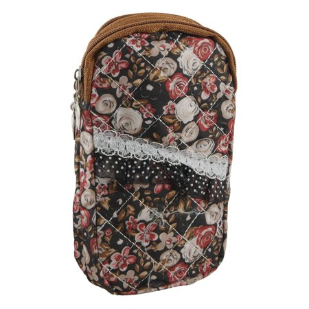 Unique Bargains Lace Detail Textured Beige Red Flower Printing 2 Compartment Phone Wrist Bag