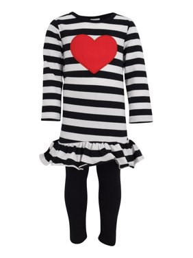Unique Baby Girls Striped Heart Valentine's Day 2 Piece Outfit (2t/XS)