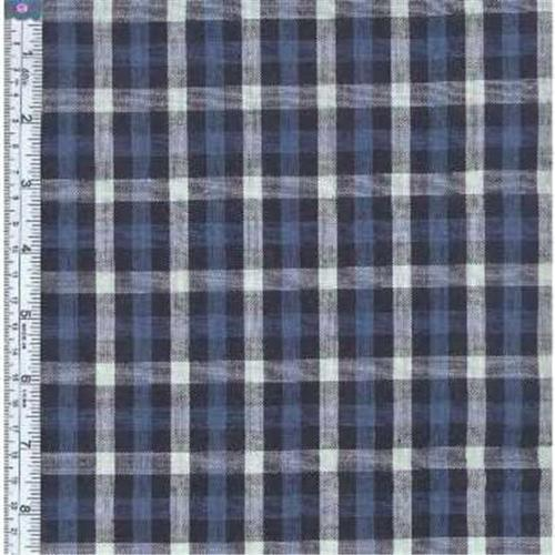 Textile Creations RW0065 Rustic Woven Fabric, Check Navy And Light Grey, 15 yd.