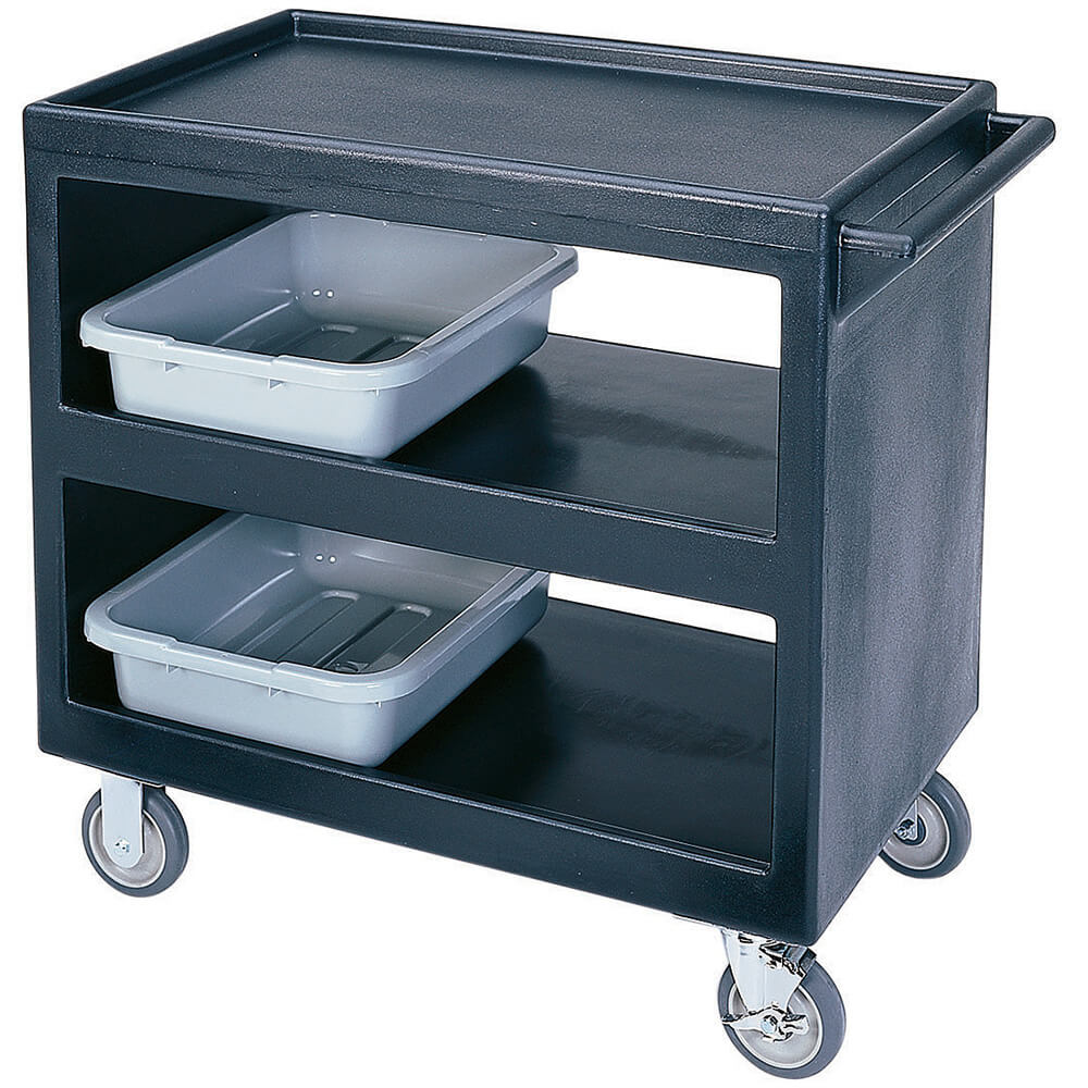 "Cambro 37-1/4"" x 21-1/2"" Service Cart, Open, Black, BC235-110"