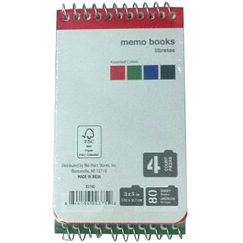 "Memo Book Spiral, 3"" x 5"", 80 Sheets, 4-Pack"