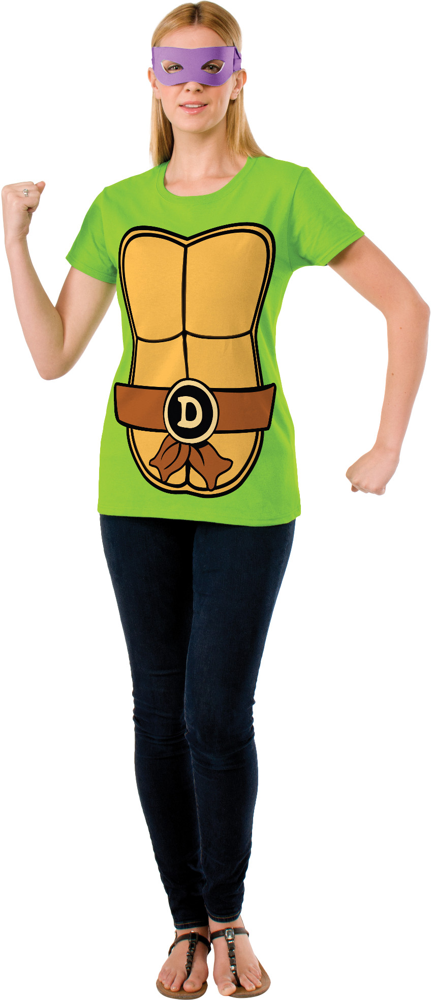 Womenu0027s Teenage Mutant Ninja Turltles Donatello T Shirt Mask Costume Set    Walmart.com