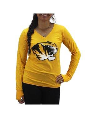 cdf322ac4c8 Product Image Pressbox Women  s Missouri Tigers Gold Long Sleeve Shirt V- Neck. Royce Apparel