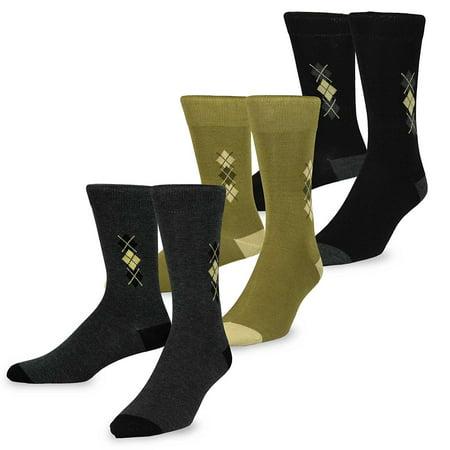 TeeHee Men's Mercerized Cotton Crew Dress Socks 3-pack (Mercerized Dress Socks)
