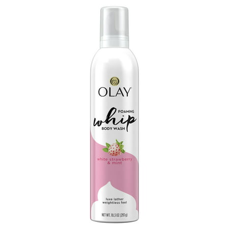 (2 pack) Olay White Strawberry and Mint Scent Foaming Whip Body Wash for Women, 10.3 oz