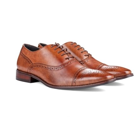 UV Signature Men's Brogue Cap Toe Dress (Toddler Brown Dress Shoes)