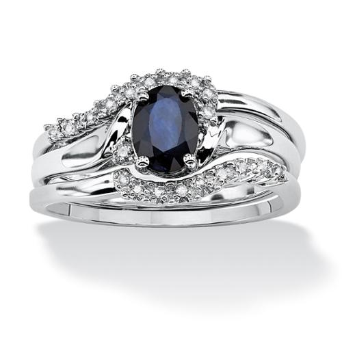 3 Piece 1.05 TCW Oval Sapphire and Diamond Accent Bridal Ring Set in Platinum over Sterling Silver - Size 9