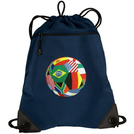 World Soccer Drawstring Bag Cup Fan Cinch Pack Unique Mesh Microfiber