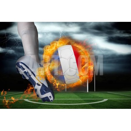 Football Player Kicking Flaming France Flag Ball against Football Pitch under Stormy Sky Print Wall Art By Wavebreak Media Ltd ()