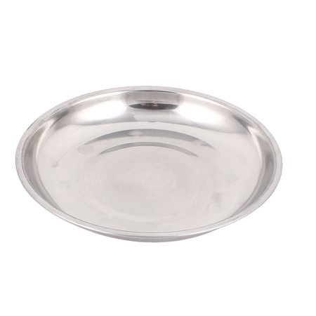 Unique Bargains 7.7 Inch Diameter Silver Tone Kitchen Round Strainless Steel Food Fish Holder Dish Plate