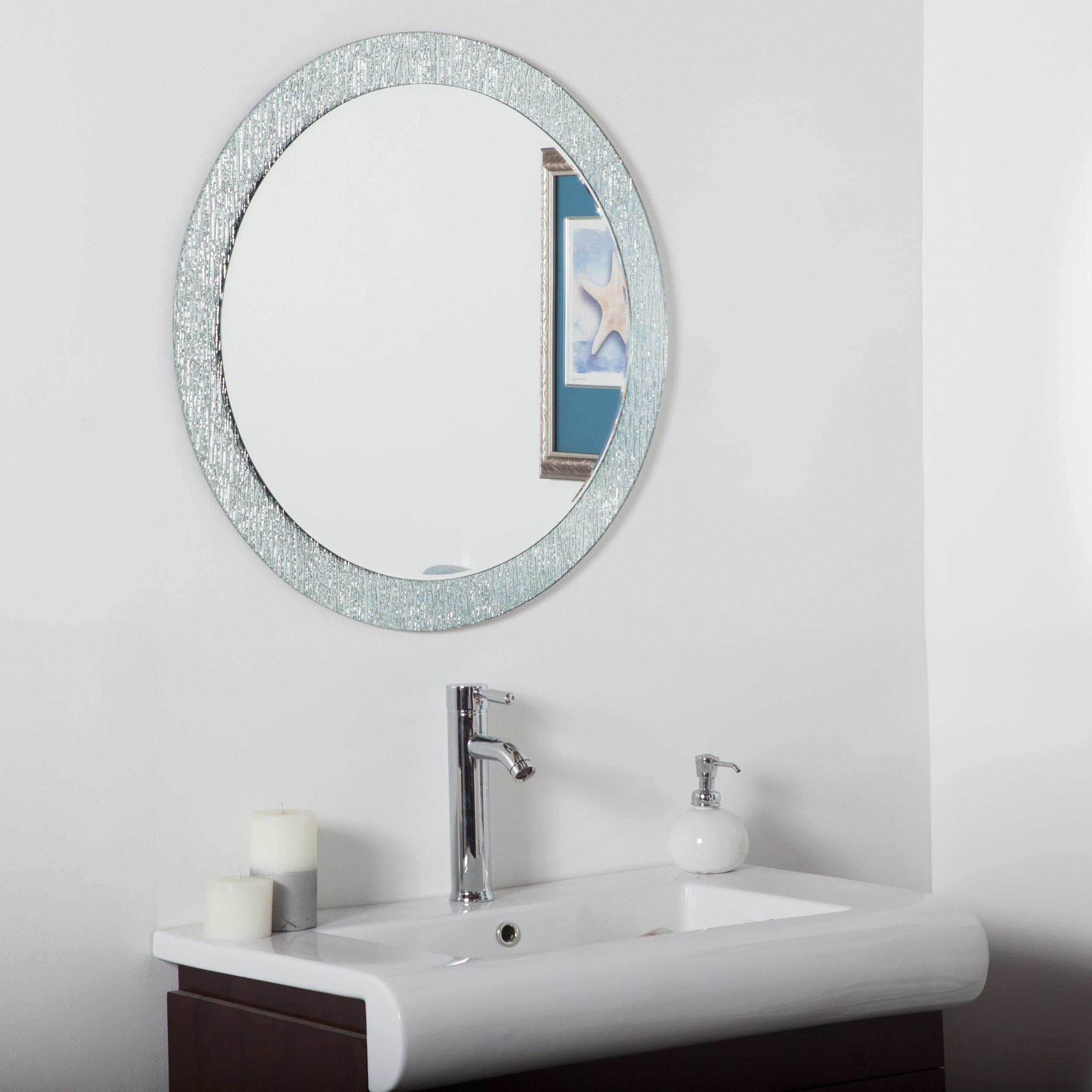 Decor Wonderland Molten Silvertone Glass Metal Round Bathroom Mirror by Overstock