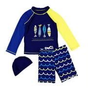 Kids Boys Quick Dry Sunscreen Long Sleeve Swimwear Shorts Hat Surfing Wetsuit Dark blue 2-3Y